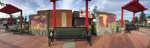 Fisheye photo of murals next to benches