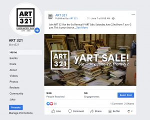 Facebook Post Mockup about the Y-Art Sale