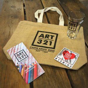 Art 321 bag, sticker, glass, and brochure