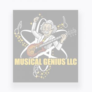 Musical Genius Logo with Black Background and White Overlay