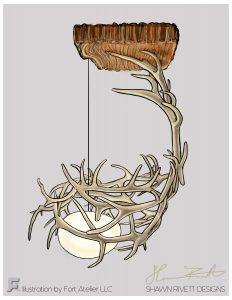 Shawn Rivett Designs Sprawling Antler Hanging Light
