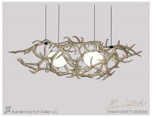 Shawn Rivett Designs Antler Hanging Light Natural Colors