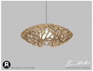 Shawn Rivett Designs Antler Hanging Saucer Light in Natural