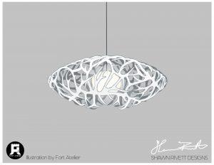 Shawn Rivett Designs Antler Hanging Saucer Light in White