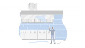 Powerwashing kitchen illustration with white opacity